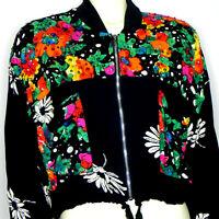 Vintage 80s 90s Womens Cropped Jacket M Floral Beaded Black Multicolor Art
