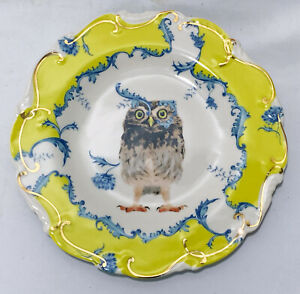"Anthropologie Nature Table Lou Rota Owl Yellow Gold Dessert Salad 9"" Plate"