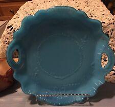 "Dithridge ""Challinor"" ,11"" Blue opaline Milk glass Cake plate Great Condition"