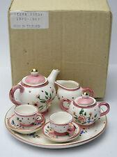 Mini Dollhouse 10 pc Tea Set - Pink Flowers Original Box Thailand