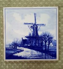 VTG Holland Delft Windmill Tile Hand Painted Blue