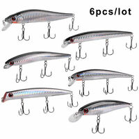6Pcs Minnow Fishing Lures Crankbait Jerkbait Popper Bass Wobbler Hard Bait lure