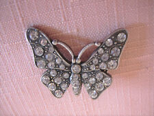 Pretty Pewter  Butterfly Set With Diamante Safety Clasp