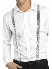 Adults Sequin Braces Unisex Suspenders Fancy Dress Costume Accessory Silver