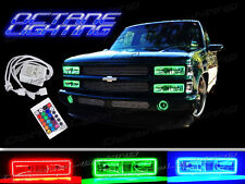89-99 Chevy GMC Truck Multi-Color Changing LED Shift RGB Headlight Halo Ring Set