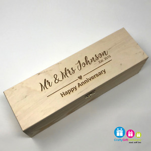 Personalised Wooden Wine Bottle Box, Engraved Champagne Anniversary Gift