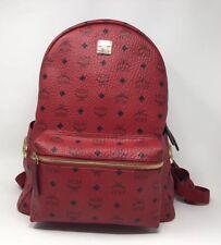 MCM Red Leather Medium Stark Backpack Side Stud