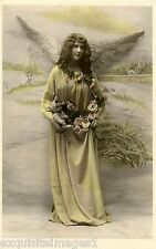 c1900 French~Pretty Woman Angel w Flowers~Hand Tinted~New Lge Note Cards