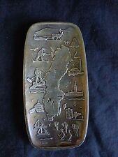 "Souvenir Plate SVERIGE SWEDEN Vintage Silver with Feet Hall Berg 7"" x 3.5"""