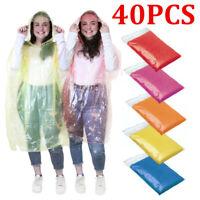 40Pcs Disposable Adult Emergency Waterproof Rain Coat Poncho Hiking Camping Hood