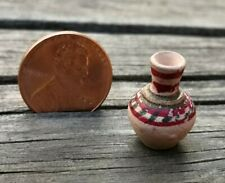 VTG ARTISAN MINIATURE DOLLHOUSE MEXICAN POTTERY HAND PAINTED LONG NECK VASE