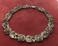 """Vintage Sterling Silver Bracelet 925 7.75"""" Rose Flower"""