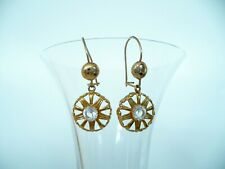 Victorian Antique Style Yellow Gold Tone Filigree Dangle Earrings Deco Vintage