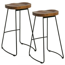 Set of 2 Industrial Bar Stools Kitchen Breakfast High Chair Wood Pub Seat