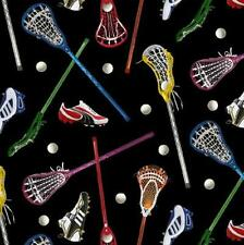 Lacrosse Sticks, Cleats & Balls on Black QUILT FABRIC by Elizabeth Studios 1 2/3
