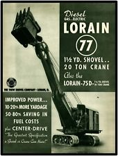 "Thew Lorain 77 Shovel Crane  Vtg. Look 9"" x 12"" Repro Aluminum Sign Lorain, Ohio"