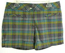 Slazenger ~ Gray w/ Yellow/Teal Plaid Shorts ~ Women's Size 2 ~ EUC