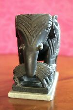 Antique Old Hand Carved Indian Black Touch Stone Elephant Fight Crocodile Statue