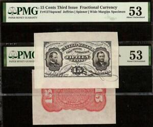 SIGNED 15 CENT WIDE SPECIMEN FRACTIONAL GRANT SHERMAN NOTE 1274 & RED BACK PMG