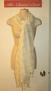 AMERICAN EAGLE OUTFITTER Shawl Scarf White Gray Silver Cotton India Large  VG+++