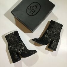 Ash Womens Boots Sz 8.5 - 39 Flora Embossed Heel Velvet Ankle Booties Black Gold