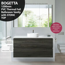 BOGETTA 1200mm Sonoma Oak Grey PVC THERMAL FOIL Timber Wood Grain Vanity w Stone