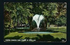 Prairie du Chien Wisconsin WI 1908 Browers Park Fountain, Wooded Lane Behind