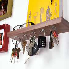 "12"" Floating shelf and magnetic key rack in solid Walnut wood"