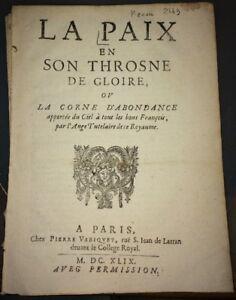 LA PAIX EN SON THROSNE DE GLOIRE. 1649.MAZARINADE.