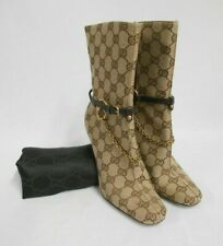 GUCCI monogram calf boots brown leather & canvas 9cm slim heel, dust bag 35C UK2
