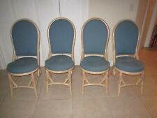 Bamboo Dining Chairs Green Fabric Upholstered  By Clark Casual Furniture  set 4