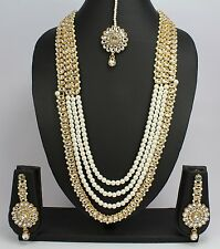 Indian Jewelry New Pearl Kundan Wedding Necklace Set Earring Tikka Rani Haar