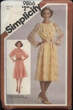 Simplicity 9866 Sewing Pattern Misses' VTG '80 Raglan Sleeved Dress Size 10 UC