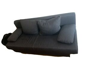Schlafsofa Sofa Couch grau Stoff Schlaffunktion Bettkasten 190x140 Bora