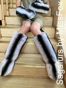 Rex rabbit chinchilla print double side fur boots 36-46 euro size.