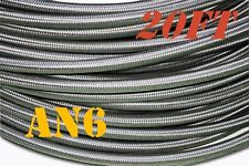 """AN6 6-AN AN-6 (3/8"""") STAINLESS STEEL BRAIDED OIL FUEL LINE HOSE 20ft"""