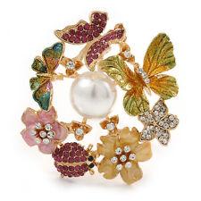 Multicolor Cristal, Esmalte Flor, Ladybug, Corona Broche/colgante de mariposa