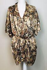 Silk August Silk Pj Nightgown/ Slip Robe Set 100% Silk Size S Brown Print