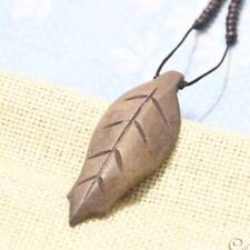 Retro Wood Carved Leaves Pendant Long Sweater Pendant Necklace for Women