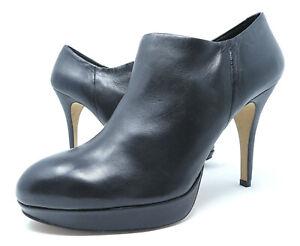 Vince Camuto Elvin 9.5 Ankle Boots Bootie Black Nappa Leather Zip Platform Heel