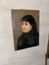 Dipinto Olio Su Tela Metà 800 Ritratto Donna Senza Cornice