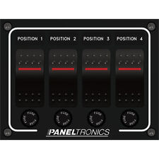 Paneltronics Illuminated Waterproof 4-Position DC Rocker Switch Panel & 10A Fuse
