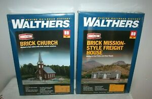 2 WALTHERS HO KITS - BRICK MISSION-STYLE FREIGHT HOUSE + BRICK CHURCH