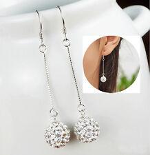 Celeb Women's Silver Long Hook Earring CZ Crystal Ear Stud Drop Dangle Earrings
