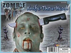 ZOMBIE  - Plastic Knife Thru Head Deluxe Prop