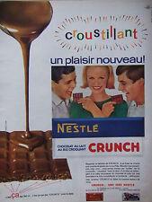PUBLICITÉ DE PRESSE 1964 CRUNCH LE CHOCOLAT NESTLÉ AU LAIT AU RIZ - ADVERTISING