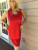 Women Dress White House Black Market Size 4 Red Sleeveless Sheath Cowl Neckline