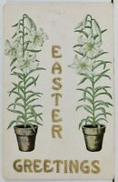 Easter Greetings Potted Lily Flowers Plants Embossed c1915 Postcard L20