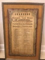 Antique Montgomery Ward Advertising Of Whole Sale Prices On A Wooden Plaque