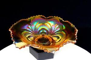 """IMPERIAL MARIGOLD CARNIVAL GLASS SCROLL EMBOSSED RUFFLED RIM FOOTED 8 1/2"""" BOWL"""